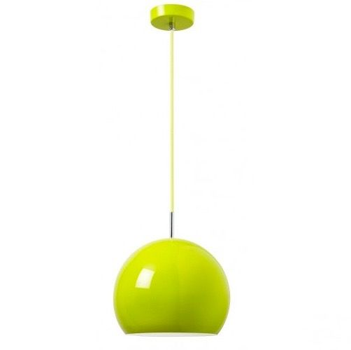 A bold and very stylish green metal pendant with accompanying green cotton cable.