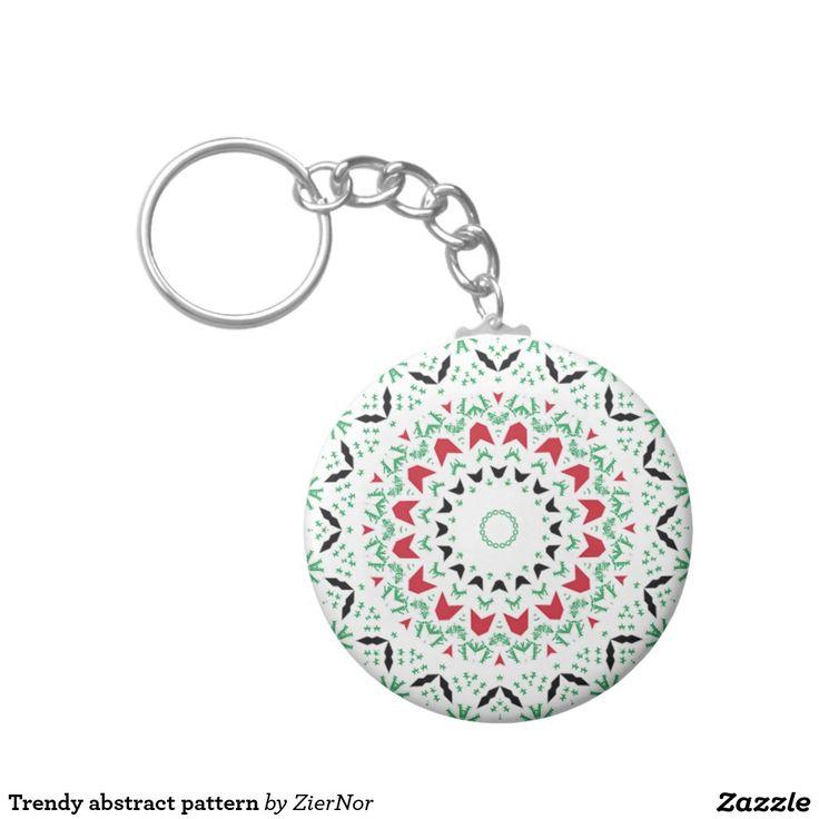 Trendy abstract pattern basic round button keychain