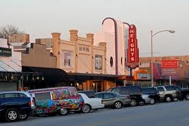 """19th Street shopping district in Houston Heights.  The Heights Theater was a victim of arson in 1967 when it screened """"I Am Curious (Yellow)"""".   Today a movie poster of the film hangs in the lobby."""