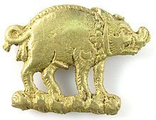 House of Plantagenet-Bronze boar mount thought to have been worn by a supporter of Richard III, often described as the last Plantagenet king