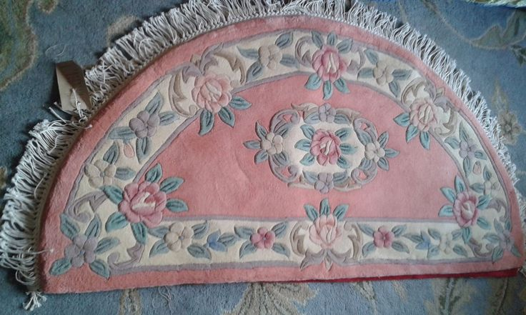 BRAND NEW 100% Wool Chinese Rug Carpet, Peach Salmon Pink Half-moon Rose Floral | eBay