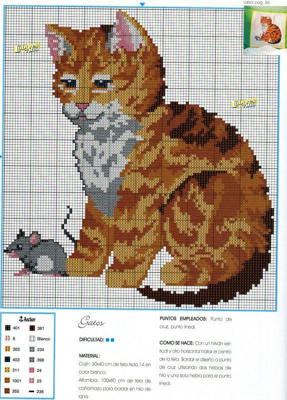 Gatitos en flores gato Cross Stitch Kit 14ct