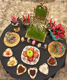 """About """"Haft Sin""""--(New year in Iran)---HAFTSEEN, otherwise known as Haft Seen (Persian: هفتسین, the seven seen's) is a tabletop arrangement of seven symbolic items traditionally displayed at Nowruz, the Persian new year. The haft seen table includes seven items all starting with the letter seen (س) in the Persian alphabet."""