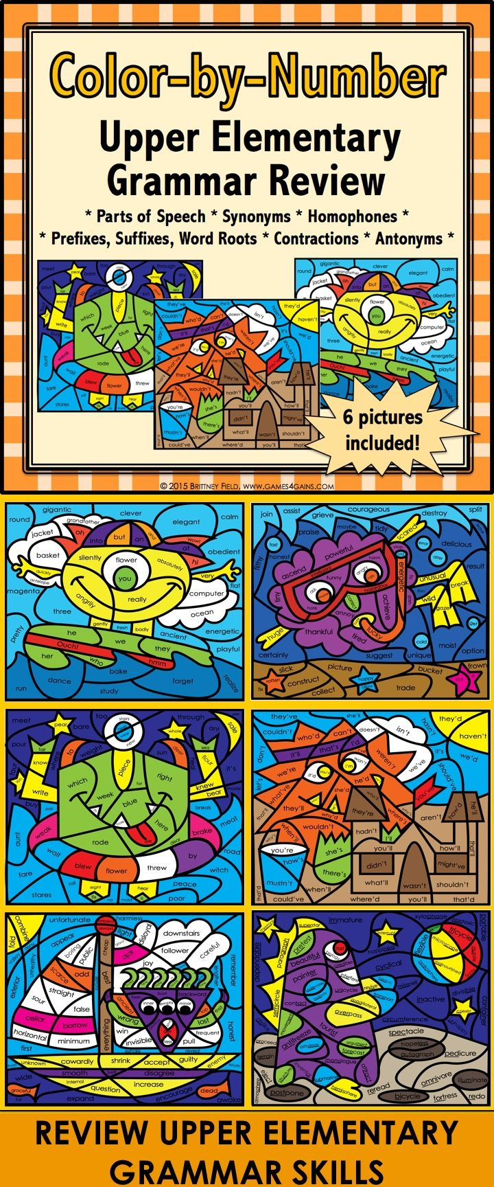 This Grammar Review Color-by-Number Activities set comes with 6 color-by-number activities for upper elementary for reviewing and practicing the following skills: parts of speech, synonyms, homophones, prefixes, suffixes, root words, contractions, and antonyms. This is a fun way to get in some additional grammar practice!