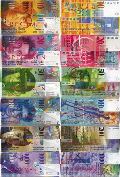switzerland currency | The Color of Money from Around the World | vinounku