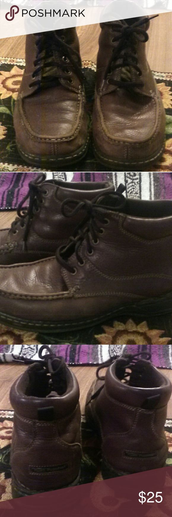 Mens Hush Puppies Sz.12M Ankle height lace up. Pre worn brown leather Men's Hush Puppies. Good condition. Plenty of miles left on these. Very soft & supple. I purchased these for my husband not too long ago. He wore them maybe a half dozen times or so. I should have known better. Let's just say, he's not the hush puppy kind of guy. Still a great pair of shoes for the hush puppy guy. Hush Puppies Shoes Boots