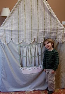 DIY playhouse made from PVC frame & cloth cover