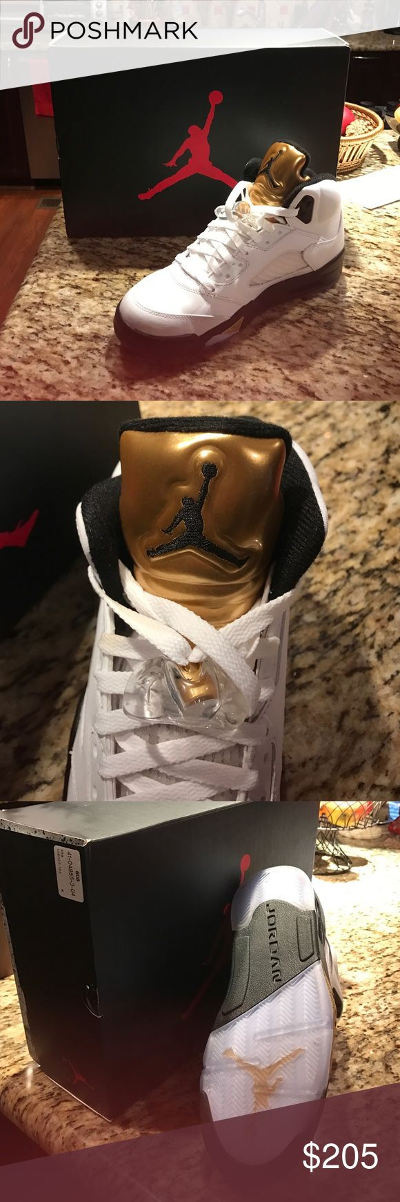 Jordan Retro 5 Olympic Gold Sneakers Brand New In Box, Never Worn...we bought for our son and they were too tight. They are size 8.5. Purchased in October 2016, in box and tissue since. I have original receipt from Finish Line. Hard to find. Jordan Shoes Sneakers