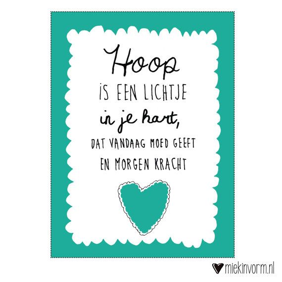 Print A4  Hoop is een lichtje in je hart dat vandaag door miekinvorm, €6.50