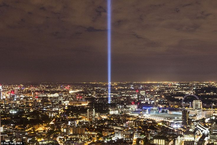 'Spectra' by Japanese artist Ryoji Ikeda: Acting as beacon for the capital, a monumental pillar of light beamed into the clouds from Victoria Tower Gardens