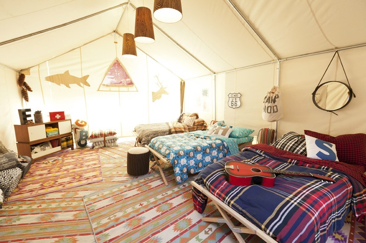 American Kitsch tent. Land of Nod Fall Media Event. >> How much fun would it be to have a summer tent in the backyard... I may have to do this someday!: Summer Adventure, Love My Kids, Summer Rooms, Kids Cabins, Ahhhhhh Summertime, Tent Cabins, Kids Boys Stuff, Summer Tent