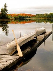 The view from the dock in Muskoka in September