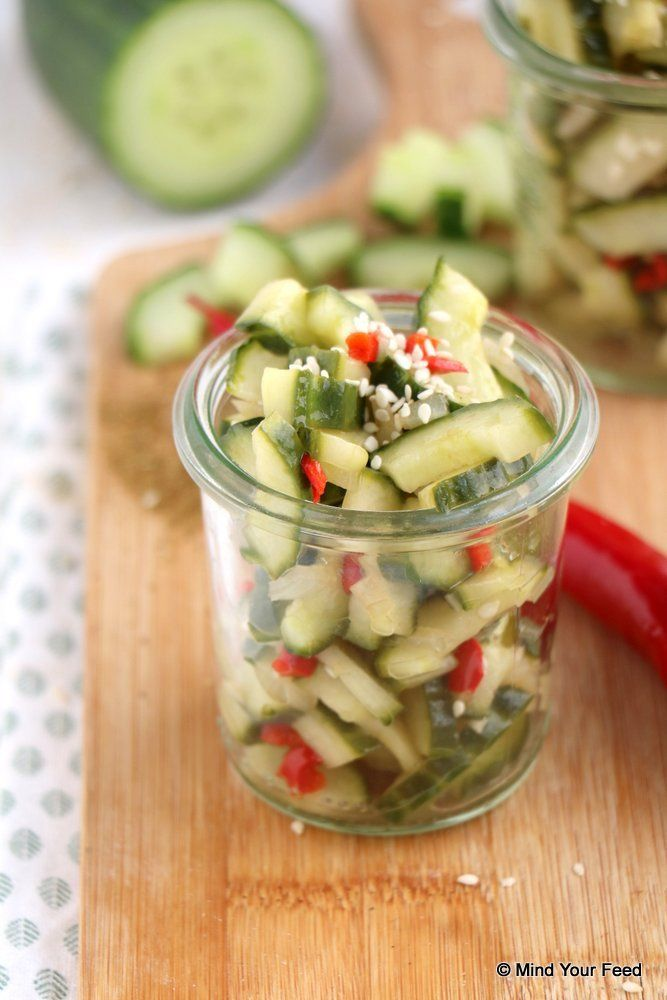 Atjar ketimoen - zoetzure komkommer, lekker bij Indonesische rijsttafel
