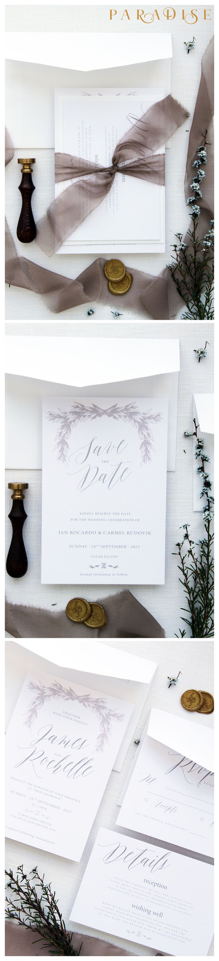 Rochelle Taupe 2 Wedding Invitation Sets Wreath
