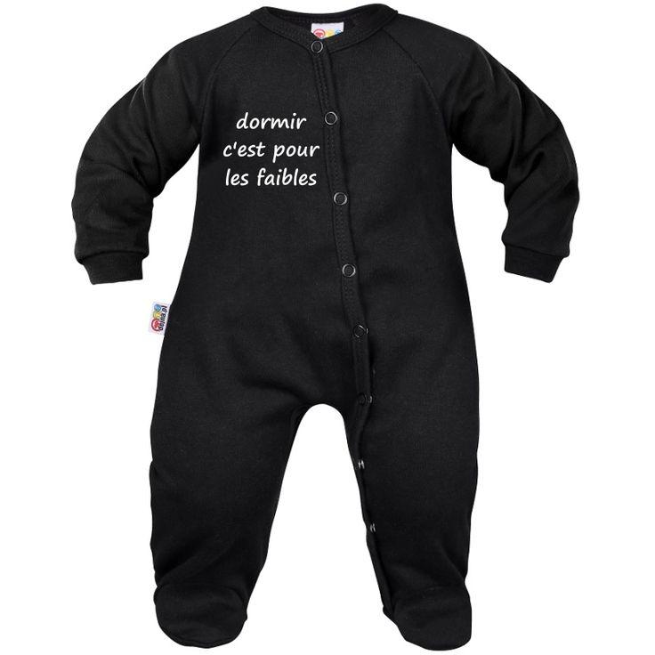 Pyjama bébé noir avec message : DORMIR c'est pour les faibles
