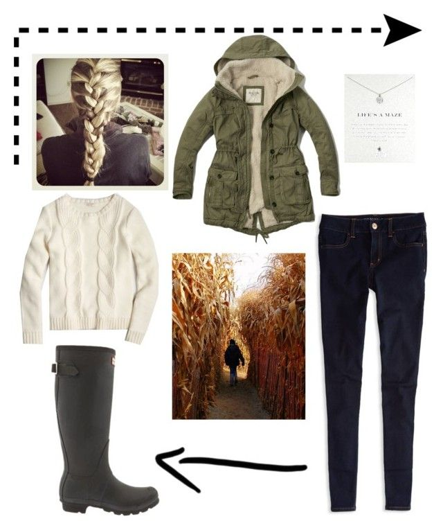 """""""Going to a haunted corn maze"""" by mariekaylin ❤ liked on Polyvore featuring Abercrombie & Fitch, Hunter, J.Crew, Dogeared and American Eagle Outfitters"""