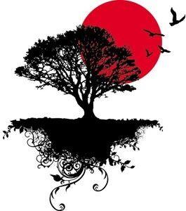 vector beautiful black silhouette floral art tree birds is flying