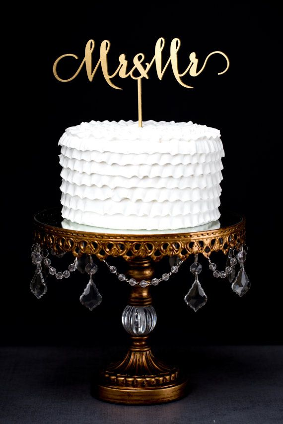 Mr and Mrs Wedding Cake Topper Gold Metallic