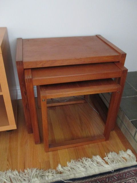 VINTAGE DOVETAILED NESTING TABLE SET Estate sale from graceful Bell's Corners home – 70 Ridgefield Crescent, Ottawa ON. Sale will take place SUNDAY, May 24th 2015, from 9am to 2pm. Visit www.sellmystuffcanada.com for full sale description and photos of all available items! #70Ridgefield #SMSO
