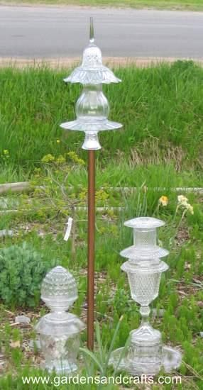 Glass garden totems made from upcycled pieces