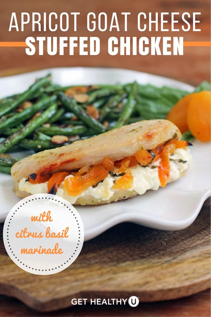 This Apricot Goat Cheese Stuffed Chicken with Citrus Basil Marinade is ...