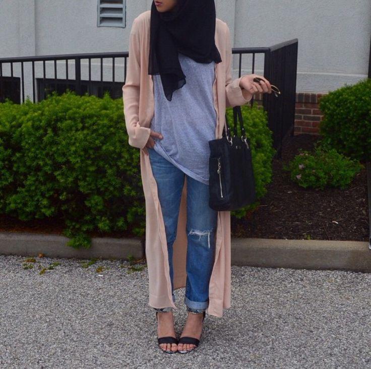 Hijab + Boyfriend Jeans + Maxi Cardigan (Hipster Hijabis)