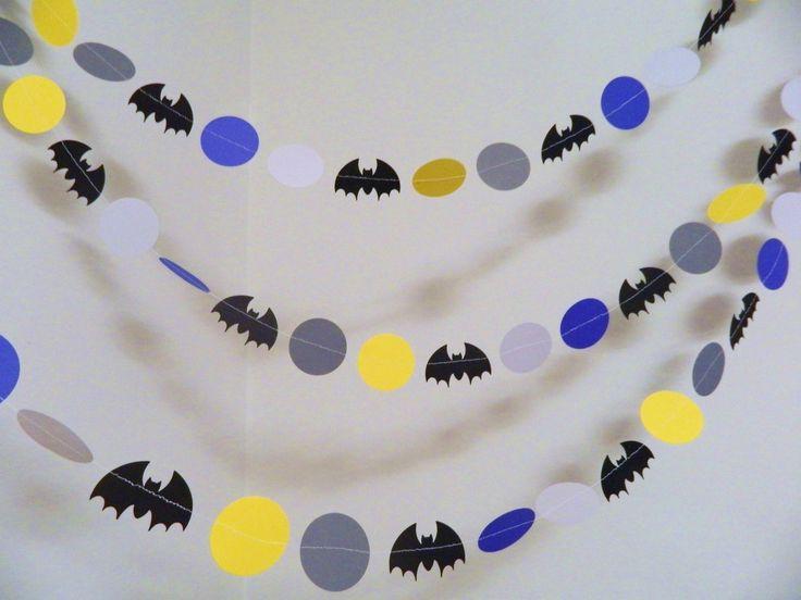 Batman Garland- Paper Garlands- Batman Birthday Decorations- Batman Party Decor-10 foot Garland-Boys Room Decor by anyoccasionbanners on Etsy https://www.etsy.com/listing/201698466/batman-garland-paper-garlands-batman