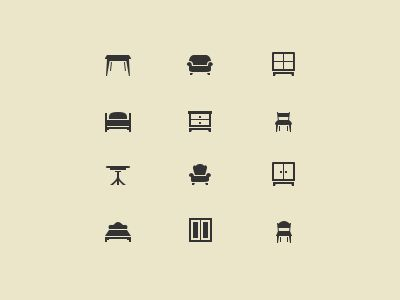 Furniture icon set - Get a free psd here http://cl.ly/VMUE