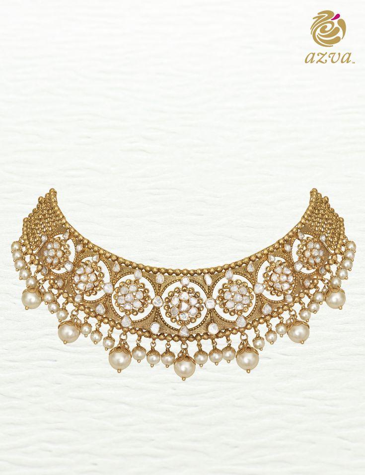 Azva diamond polki necklace of floral clusters. Modern bridal jewellery. #Goldjewellery #luxury #style