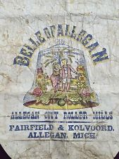 Vintage Antique Flour Sack - Belle of Allegan City Roller Mills Michigan RARE