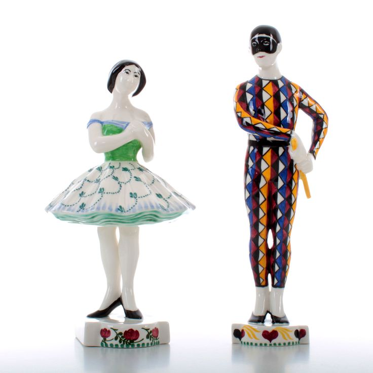 Royal Copenhagen figurines - Harlequin and Columbine - Grade A. Danish design. Super rare porcelain figurine pair in pristine condition! by DanishVintageDesigns on Etsy