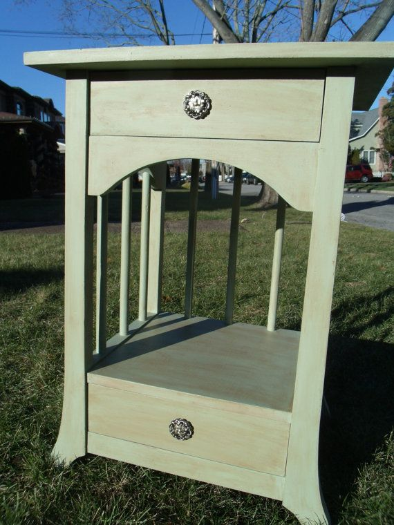 Shabby chic side accent end table painted glazed by for Accent furnitureable