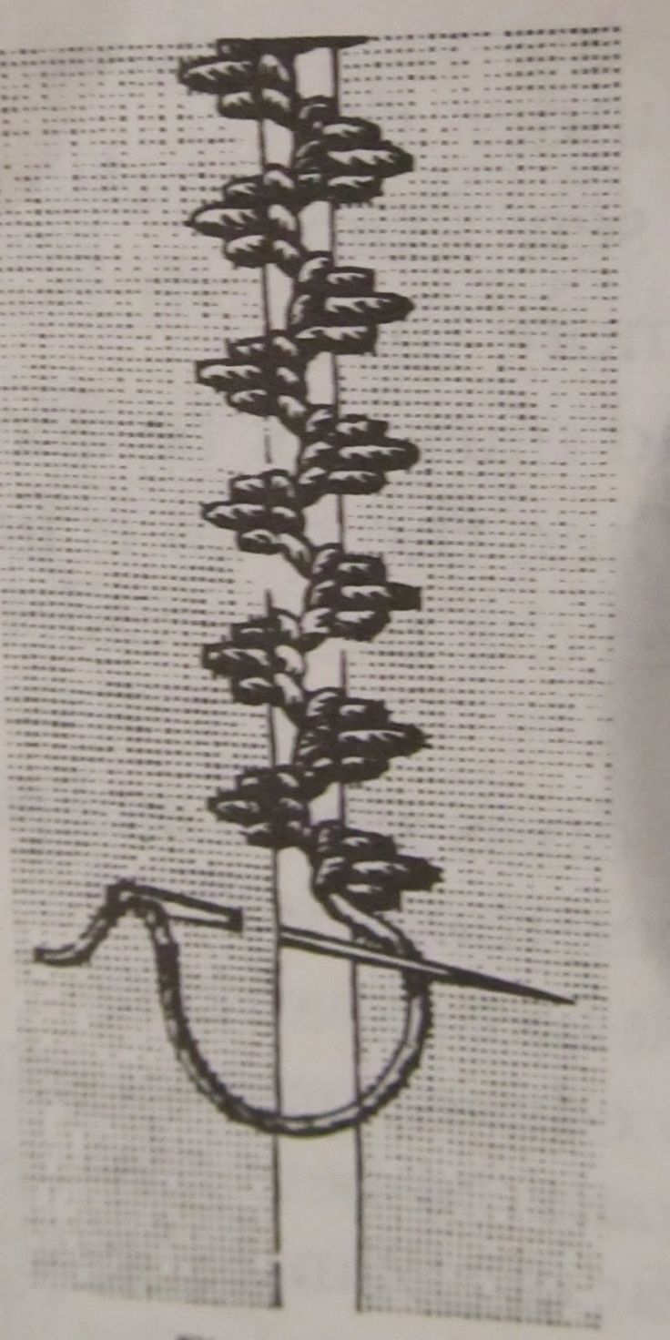 from Complete Encyclopedia of Needlework by T. deDillmont. This insertion seam consists of groups of 3 Buttonhole stitches, with the center stitch about twice the length of the 2 outer stitches.