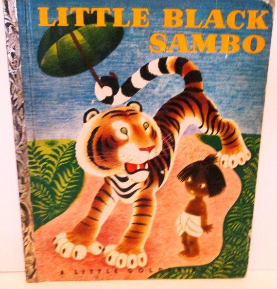 "Vintage 1940s Little Black Sambo, A Little Golden Book-RARE ""G"" First Edition, collectible children's book."