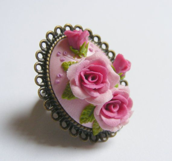 Pink Roses and Buds Adjustable Ring    Handmade by TheClayFlorist, £22.99