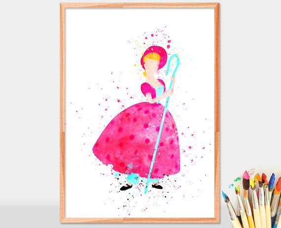 Little Bo Peep, Toy Story watercolor, home arts, decor, cartoon kids children Illustration, Gift, Nursery Poster