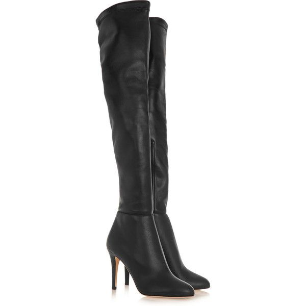 Jimmy Choo Toni stretch-leather over-the-knee boots (7,465 CNY) ❤ liked on Polyvore featuring shoes, boots, black over-the-knee boots, thigh-high boots, black high heel boots, over-the-knee high-heel boots and black over the knee boots