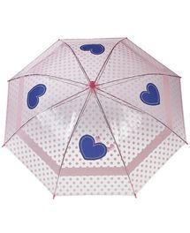 Ombrello rosa trasparente con allover di pois rosa e cuori blu, puntale e man...