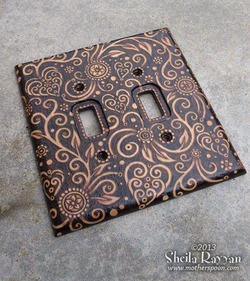 Wood Switch Plate Cover - Heart Swirls Pyrography