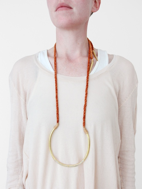 """Erin Considine - NY -USA  Shale Necklace,   """"For her first full collection Immrama, named for a series of old Irish folk tales , Considine mixes hand-dyed fibers fastened to deco-inspired recycled brass pendants, creating a jewelry collection that is as whimsical as it is conscientious."""" FROM http://www.thefader.com)"""