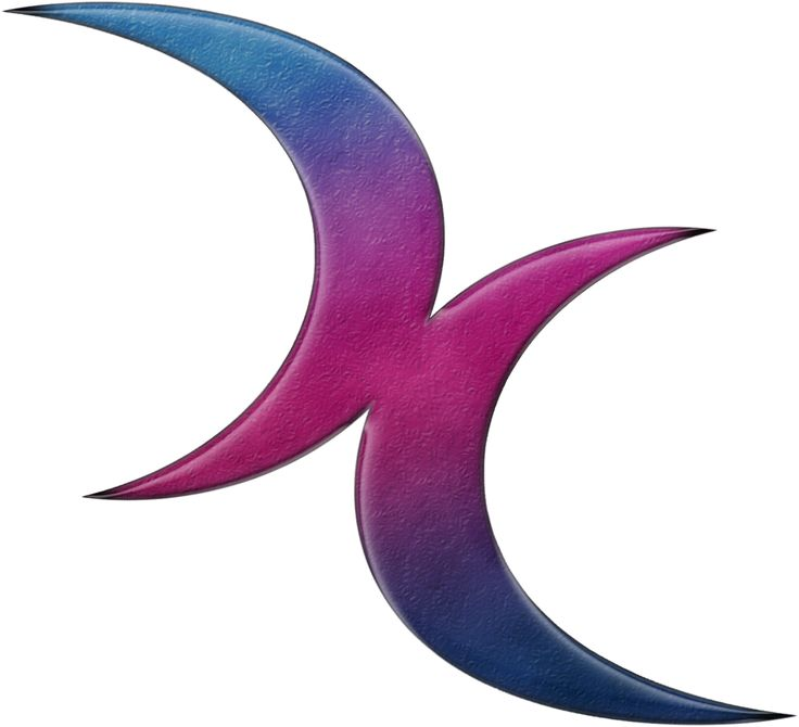 Bisexual pride double crescent moons in Pride flag colors. Two over lapping moons in pink, purple, and blue.	 	#Bisexual	 	#liveloudgraphics