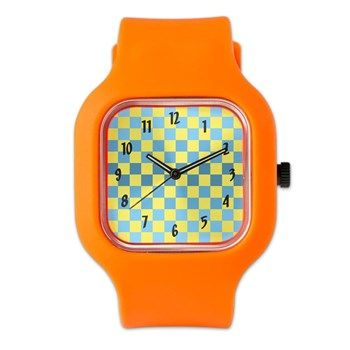 Blue & Yellow Squares Watch from cafepress store: AG Painted Brush T-Shirts. #watch #pattern #patterned