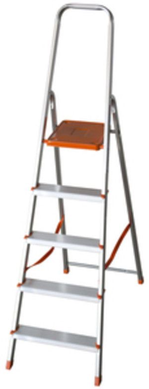 Scala in alluminio domestica con paracorpo 3 gradini con pedana EN 131
