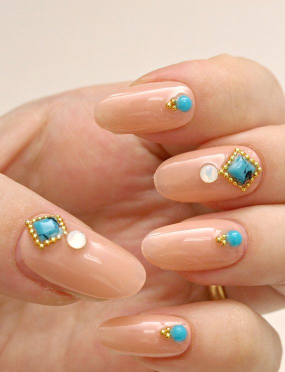 Simple nail art party nail nail gem beige nail press on by Aya1gou