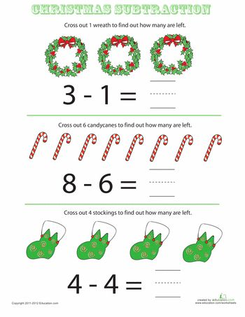 "'Tis the season for learning! Help your kindergartener understand subtraction as ""taking away"" with these festive, fun Christmas subtraction worksheets."
