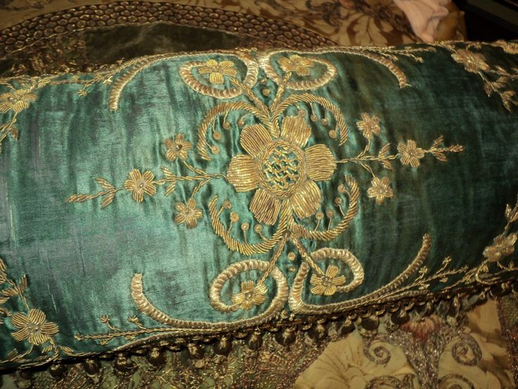Antique One of a kind Ottomon Pillow Embroidered Metallic on Silk with 19th C Metallic Bobble Fringe French Trim