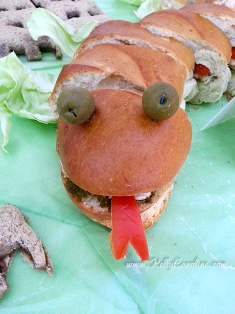 safari party food and party favor ideas - snake sandwich
