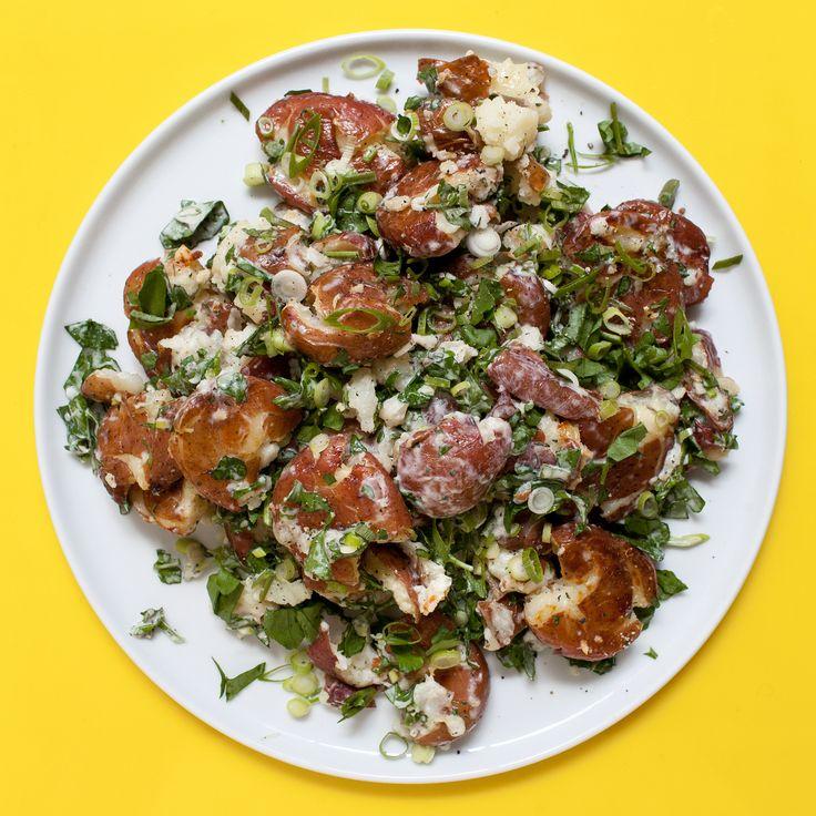 Smashed Potato Salad | Recipe | Potato salad, Outdoor ...