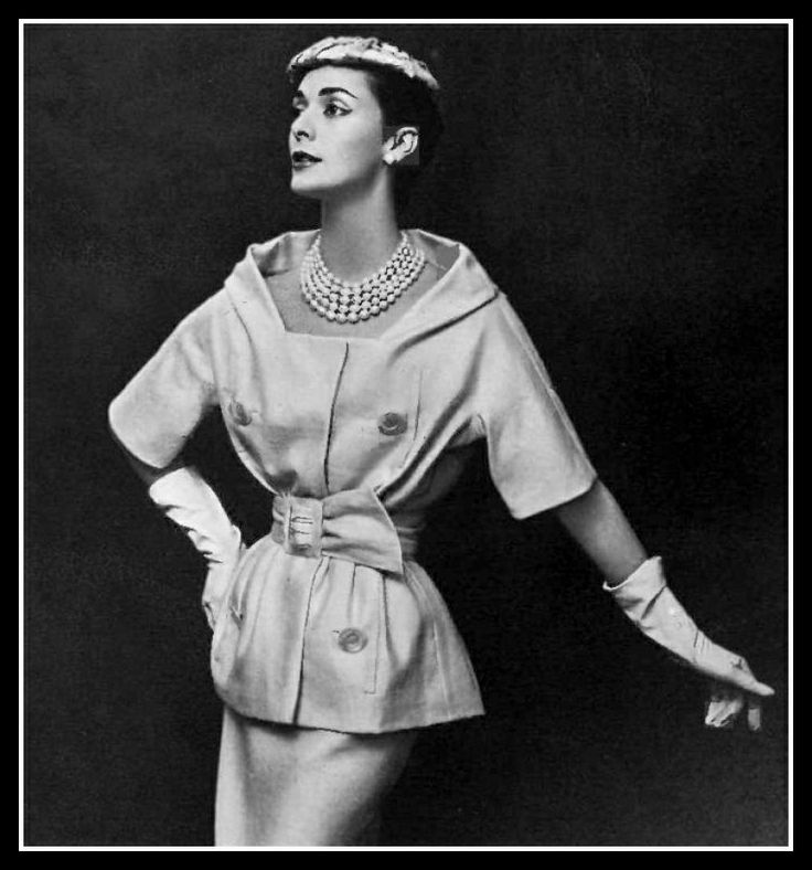 1957 - Kouka Denis in Christian Dior natural silk shantung two-piece, top is roomy with wide neckline and tightly cinched with same-fabric belt, by Georges Saad,