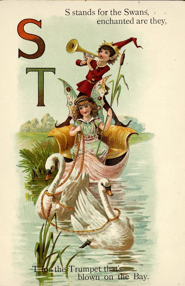 """Fairyland ABC - Father Tuck's """"Alphabet"""" Series, 1902. """"S for Swans, T for Trumpet"""""""